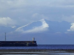 Troon Lighthouse and Arran (g crawford) Tags: troon ayrshire southayrshire crawford arran goatfell snow winter white weather clyde riverclyde firthofclyde light lighthouse barassie