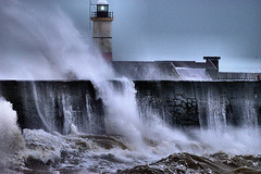 Tempest (Croydon Clicker) Tags: storm wind waves spray wall jetty pier harbour lighthouse sea ocean tempest breakers newhaven sussex eastsussex
