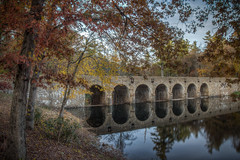 Byrd Creek Dam (donnieking1811) Tags: tennessee crossville cumberlandmountainstatepark byrdcreekdam dam stone lake byrdcreek outdoors landscape trees water leaves autumn fall foliage reflections hdr canon 60d lightroom photomatixpro byrdlake