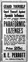Advertisement for Paraformic Lozenges (ArchivesOfOntario) Tags: wwi firstworldwar advertisement newspaper microfilm brantford ontario drug medicine medical health influenza spanishflu pandemic