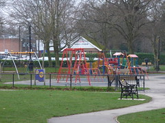 Shirley Park - playground (ell brown) Tags: shirley solihull westmidlands england unitedkingdom greatbritain tree trees shirleypark stratfordrd stratfordrdshirley haslucksgreenrd friendsofshirleypark playground path slide swing swings bench benches