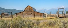 Hazy Day at Mormon's Row (Bob C Images) Tags: barn jacksonhole wyoming mountains brush sage fence railsgrandtetonsyelloowstonenationalpark