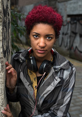 Aletha (Charles Hamilton Photography) Tags: glasgowstreetportrait trongate streetportrait style eyes eyecontact colourstreetportrait citycentre colours urbanscene urbanlife alley backstreet graffiti fashion glasgow nikond750 naturallight primelens charleshamilton