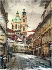 """from the series """"Walking in Prague"""" Winter fantasy. (odinvadim) Tags: iphoneart landscape iphoneonly winter iphonex iphoneography specialist church graphic mytravelgram painterlymobileart old iphone snapseed evening artist instapickskyart travel oldhouse textured textures prague icolorama"""