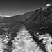 A Ship's Wake and Mountain Peaks of the South Methow Mountains and North Chelan Mountains (Black & White,