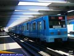 Metro de Santiago: Alsthom NS-74 en Estación Parque O'Higgins dirección Vespucio Norte (L2). (Alexongis) Tags: metro de santiago alsthom alstom ns74 p3027 3027 parqueohiggins linea2