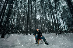 Alone With My Thoughts [Explored] (Chaos2k) Tags: 52weeks 2019 selfportrait brianboudreau canon5dmarkii canonef1635mmf28lusm 580exii sb900 softbox forest strobist snow 52weeksthe2019edition chair