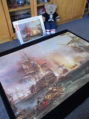 Dun in dubble-kwik time! (pefkosmad) Tags: jigsaw puzzle hobby leisure pastime ravensburger 3000pieces complete used secondhand bombardmentofalgiers painting art fineart ships georgechamberssnr sea navalhistory anglodutch tedricstudmuffin teddy bear ted animal toy cute cuddly plush fluffy soft stuffed