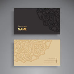 Business Card. Vintage decorative elements. Ornamental floral business cards or invitation with mandala (albanfeti) Tags: card business indian pattern mandala name turkish islam luxury black round template invitation vintage wedding abstraction arabic banner bohemian circle cover decoration element ethnic floral flower frame glitter henna identity letter layout stationery designs branding visiting lightbrown transparent diamond retro dark abstractlogo