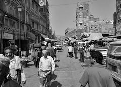 Sana'a Street (Rod Waddington) Tags: middle east yemen yemeni sanaa capital city urban streetphotography street blackandwhite mono monochrome traditional architecture buildings people culture cultural unesco old