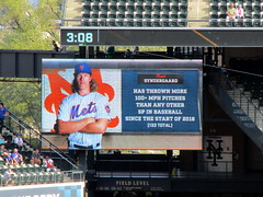 Citi Field, 09/30/18 (NYM v MIA): video board graphic: Noah Syndergaard has thrown more 100+ MPH pitches than any other starting pitcher in baseball since the start of 2016 (IMG_4447a) (Gary Dunaier) Tags: ballparks baseball stadiums stadia mets newyorkmets flushing queens newyorkcity queenscounty queensboro queensborough citifield