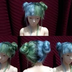 Eleanor's wig (Tatterpunk) Tags: doll raccoondoll eleanor geareye geareyeeleanor jointed ball bjd fashion msd hybrid body jid head pastel raccoon goth nugoth nugothdoll pastelgoth