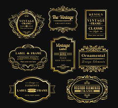 vinage gold retro logo frame badge design element (albanpernezha) Tags: wedding vintage frame invitation vector gold design floral border ornament set elegant decorative background black element ornate label decoration modern classic style frames line retro elements flower card collection ribbon art logo swirl illustration greeting ornaments tag symbol badge birthday abc color letter company concept abstract marketing identity business