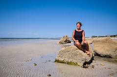 Wood Neck Beach - Judy for scale (GmanViz) Tags: gmanviz color sky capecod massachusetts beach rocks portrait