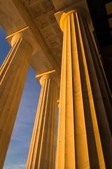 Held Up (dayman1776) Tags: column columns neoclassical classical art architecture sunrise beautiful washington dc pillar pillars sun sunny greek roman temple america american abraham lincoln memorial monument