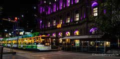 Melbourne tram in Bourke Street (Peter.Stokes) Tags: australia australian autumn buildings colour colourphotography landscape landscapes melbourne night nightpanorama outdoors photo photography traffic transport victoria light awayfromitall tram lightrail publictransport