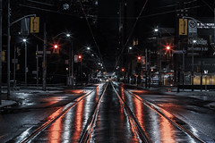 Red Light (A Great Capture) Tags: agreatcapture agc wwwagreatcapturecom adjm ash2276 ashleylduffus ald mobilejay jamesmitchell toronto on ontario canada canadian photographer northamerica torontoexplore winter l'hiver 2019 city downtown lights urban night dark nighttime cold snow weather cityscape urbanscape eos digital dslr lens canon 70d ef50mm 50mm skyline towers tower buildings structure scenery scenic reflection mirror glass reflections outdoor outdoors outside red streetphotography streetscape photography streetphoto street calle darkness nocturnal illuminate lighting rail tracks neige schnee wet water agua eau