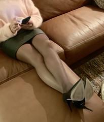 MyLeggyLady (MyLeggyLady) Tags: crossed sex hotwife milf sexy secretary teasing upskirt miniskirt thighs stiletto pumps leather cfm legs heels