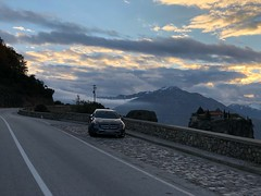 SUV in vicinity of Holy Trinity monastery, Meteora, Greece (ioannis_papachristos) Tags: longrollingclouds rollingclouds clouds iphonexcamera iphoneshot iphonephotography iphonexshot mountaingrey grey snow nountain rocks scenery landscape journey trup travel road diesel gla suv daimler mercedesbenz benz mercedes auto vehicle car thessaly greece météores meteora monastery holytrinity