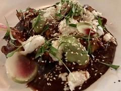 Chicken mole with avocado, queso fresco, jocoque, jasmine rice (TomChatt) Tags: food lafoodie mexicanfood
