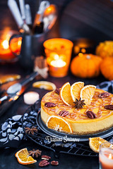 Delicious pumpkin and orange cheesecake decorated with caramel s (Katty-S) Tags: bake bakery baking pecan nut pumpkin butternut squash birthday yellow halloween thanksgiving cake cheese cheesecake confectionery cream creamcheese crust orange decoration decorated delicious dessert food fresh fruit glaze glazing holiday homemade mousse pastry portion souffle sweet tart fall autumn dark anise festive cinnamon candle