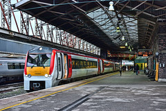 In The Red (whosoever2) Tags: uk united kingdom gb great britain england nikon d7100 train railway railroad november 2018 chester transportforwales tfw class175 175107 llandudno manchester livery station roof