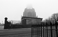 Fog (Manuel Goncalves) Tags: nikonn90s sigma24mm blackandwhite 35mmfilm analogue liverpool anglicancathedral church kentmere400 fog epsonv500scanner
