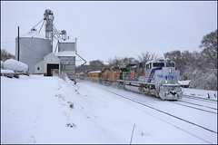 UP 1943 (Justin Hardecopf) Tags: up unionpacific 1943 emd sd70ah sd70ace spirit veterans heritage business passenger special grain elevator snow murray nebraska railroad train