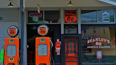Stanley's 66 (Tim @ Photovisions) Tags: xt2 station gas missouri phillips66 fuji sign fujifilm window pumps gaspump vintage building