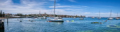 Manly and Sydney harbour panorma (geemuses) Tags: manly manlycove manlymainbeach blue color colour landscape sea ocean water beach sand surf wave boat women surfers runners umbrellas scenic scenery nsw newsouthwales australia sky cloud weather heat sun