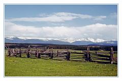 A Colorado Meadow and the Continental Divide, 1971 (sjb4photos) Tags: colorado coloradorockies epsonv500 middlepark continentaldivide fence fencefriday hff 4bar4road