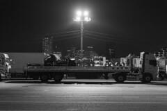 waiting on (Hideki-I) Tags: vehicle truck night light nikon d850 2470 blackandwhite bw 白黒 黑白 terminal building
