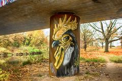 Rooster (JuliSonne) Tags: streetart urbanekunst mauer wall graffiti colors scene urban pasteup stencil street karlsruhe wuam hahn rooster