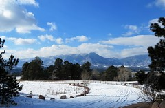 After the Snow (Patricia Henschen) Tags: winter snow kettlelakes usairforceacademy usafa coloradosprings colorado lake pond ice water shadow cloud clouds mountain rampartrange pathscaminhos mountains front range park