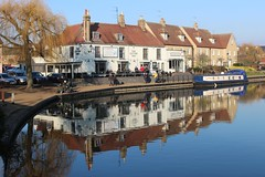 Ely Reflections (R.K.C. Photography) Tags: ely thecutterinn cambridgeshire england unitedkingdom uk reflections buildings pub water canoneos100d river rivergreatouse sunny winter boat