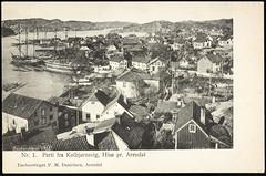 Postkort fra Agder (Avtrykket) Tags: bark bolighus ferje hus postkort seilskute arendal austagder norway nor