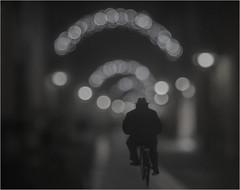 (nadiaorioliphoto) Tags: bokeh biancoenero monocromo luci lights uomo man bicycle bicicletta strada street sfocato bw wb going