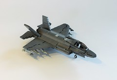 F-35 Lightning II (1) (Everblack.) Tags: lego f35 legof35 lightningii 136 scale136 airplane fighter jointstrikefighter