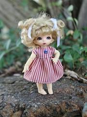 235/365 Stripes (AluminumDryad) Tags: fairyland ante tinybjd bjd balljointeddoll doll resin stripes sewing handmade dolldress dollclothes pukipuki