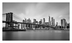 Brooklyn Bridge (Robgreen13) Tags: usa newyorknewyork manhattan brooklyn brooklynbridge freedomtower wtc cityscape urban eastriver longexposure bw