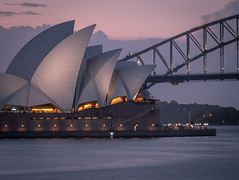 Sydney Sunset (luaP_Paul) Tags: sun sunset sydney australia sea water bridge building opera house purple orange lights long exposure nsw fuji