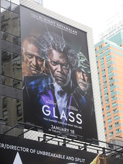 Glass Movie Billboard AD Poster 9281 (Brechtbug) Tags: glass movie billboard ad m night shyamalan film bruce willis samuel l jackson james mcavoy theater lobby standee billboards poster with yellow henchmen critters 50th street 7th avenue new york city 01072019 nyc 2019 advertisement sign january