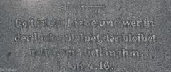 Schwer zu entziffern (Hard to decipher) (der Sekretär) Tags: bibel bibelstelle bibeltext christ christendom christenheit christentum christian christianity detail deutschland friedhof germany grab grabmal grabstein gräber husum schleswigholstein zitat alt bible cemetery christlich closeup dead death grauestadtammeer grave gravestone graveyard old passage text tombstone tot