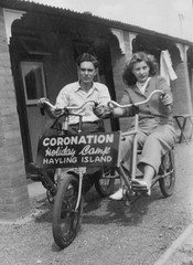 CORONATION HOLIDAY CAMP HAYLING ISLAND 1947 (JOHN MORGANs OLD PHOTOS.) Tags: vintage found photo old photos photographer people different interesting uk unusual unitedkingdom unknown unique bw black bike bicyle johnmorgan white and family seaside holiday camp