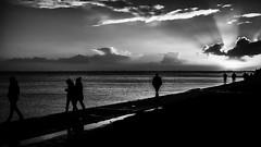 sunset Wilhelmshaven (ro_ha_becker) Tags: monochrome schwarzweiss zwartwit biancoenero blancetnoir blackandwhite blancoynegro street landschaft landscape sea sky himmel silhouette sunset clouds wolken wilhelmshaven