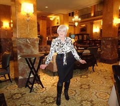 Welcome! (Laurette Victoria) Tags: hotel lobby milwaukee pfisterhotel woman laurette blouse boots skirt pencilskirt animalprint