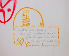 I Wrote You Poems (Steve Taylor (Photography)) Tags: iwroteyoupoems alienchilds maori heart dottedline bec am graffiti streetart tag pink red orange sad