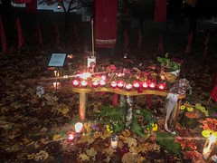 20181031_0232 (Bruce McPherson) Tags: brucemcphersonphotography allsoulsinmountainview remembering halloween shrines candles rain heavyrain night nightphotography lowlightphotography rememberingthosewhohavegonebeforeus cemetery colourful candlelight mountainviewcemetery vancouver bc canada