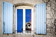 Saint-Etienne Church in Reflection (cedant1) Tags: france europe europa picturesque pittoresque scenic village anduze saintetienne church reflection volets windows window fenetre shutter shutters