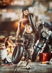 Harley 3 (Mr Action Figure) Tags: 16 16scale phicen tbleague seamless seamlessfigure female femalefigure biker repair motorcycle tires greasy dirty harleydavidson boots leather brunette hat sex garage shop tools tanktop doll hottoys verycooltoys